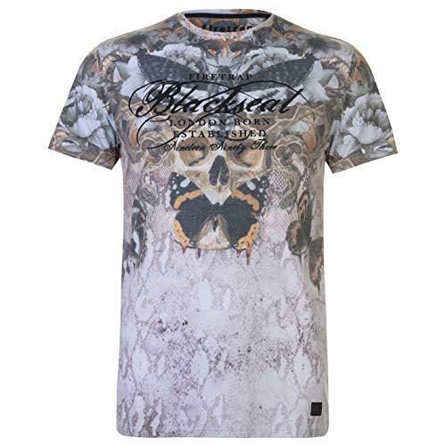 Firetrap Blackseal Herren Moth Skull T Shirt Kurzarm Orange XL