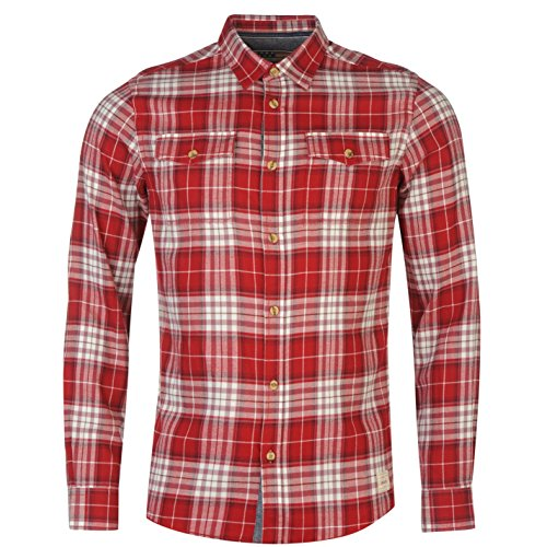 Pepe Jeans Uomo Yucon Camicia Manica Lunga Cotone Casual Camicetta Abbigliamento Rosso Extra Sml