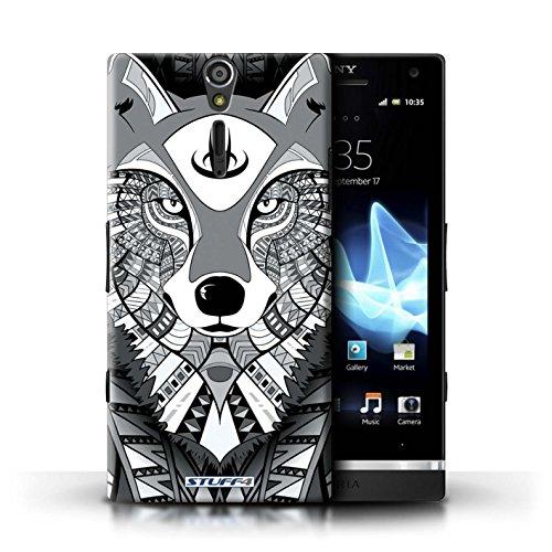 KOBALT® Hülle Case für Sony Xperia S/LT26i | Wolf-Sepia Entwurf | Aztec Tier Muster Kollektion Wolf-Mono