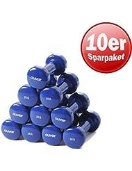 Oliver vinylhantel paire d'haltères de force musculaire 2,0 kg (blau) 5 Paar