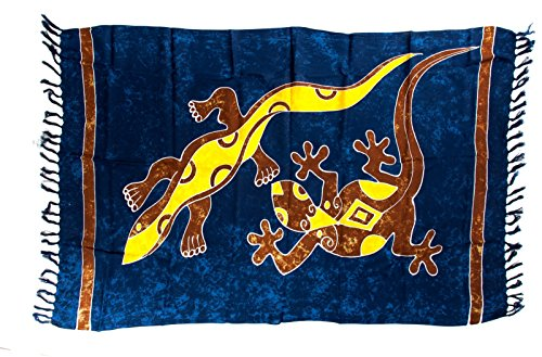 Sarong Pareo Wickelrock Gecko Strandtuch Blau + Schnalle (Bali Baumwolle Tunika)