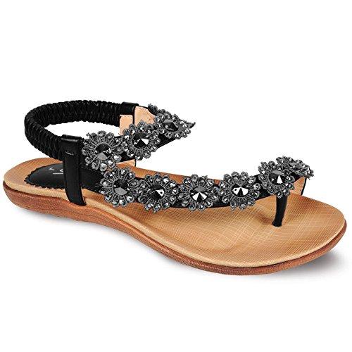 FANTASIA BOUTIQUE Femmes Diamant Sandales Fleur femmes Confortable Décontracte Été attaché Chaussures Noir