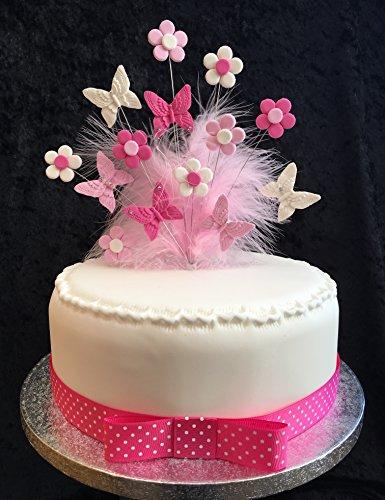 Pink & Weiß Schmetterlinge und Blumen Kuchen Topper mit Federn ideal für 20cm Kuchen, Plus 1m...