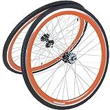 28 Zoll 700C Viking Laufradsatz mit Reifen Vorne + Hinten Fixie Singlespeed Hochflansch Fixed Gear Wheel, Farbe Vorderrad:Orange, Farbe Hinterrad:Orange