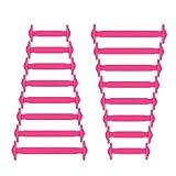 Joyshare sin corbata Cordones de zapatos para niños y adultos cordones de zapatos de atletismo atlética de silicona elástico plano de los zapatos del tablero Sneaker boots (Pink)