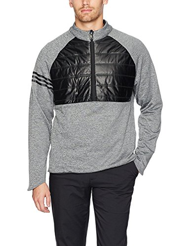 Adidas 1/4 Zip (Adidas 2017 3 Stripes Climaheat Quilted 1/4 ZIP Performance Golf Jacket / Sweater Black XL)