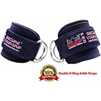 Best Ankle Straps for Cable Machines Double D-Ring Adjustable Neoprene Premium Cuffs to Enhance Legs, Abs & Glutes For Men & Women (Pair, Black)