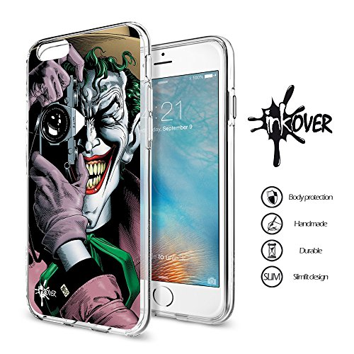 iPhone 7 (4.7) - INKOVER - Custodia Cover Case Guscio Protezione Bumper Trasparente Sottile Slim Fit Tpu Gel Gomma Morbida INKOVER Design Joker Cavaliere Oscuro Bat Man per APPLE iPhone 7 (4.7) JOKER 3