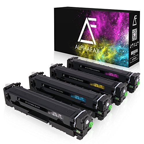 4 Alphafax Toner kompatibel zu HP CF400A CF401A CF402A CF403A 201A für Laserjet Pro MFP M277dw M277n M252dw M250 Series - 201A - Schwarz 1.500 Seiten, Color je 1.400 Seiten