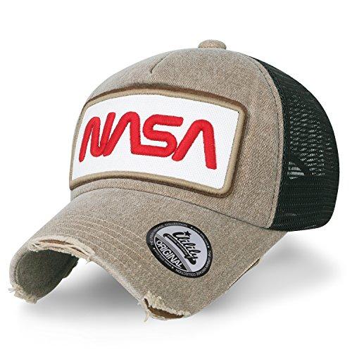 ililily NASA Worm abgebildet im Logo Stickerei Baseball Cap Netz Snap Kappe Trucker Cap Hut, Dark Beige Snap Brim Hut