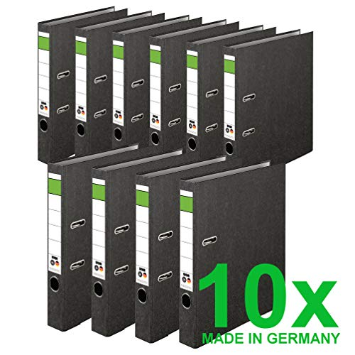 DINOR™ Ordner-Wolkenmarmor-Recycling - Das Original - Made in Germany. 10er Pack 5 cm breit DIN A4 schwarz Aktenordner Briefordner Büroordner Pappordner Schlitzordner Grüner Balken Blauer Engel