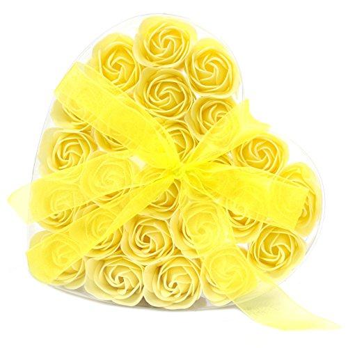 Juego de 24caja de jabón, diseño de corazón y flores, color amarillo rosas