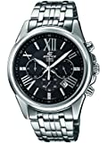 Edifice Men's Quartz Watch with Black Dial Analogue Display and Silver Stainless Steel Bracelet EFR-548D-1AVUER