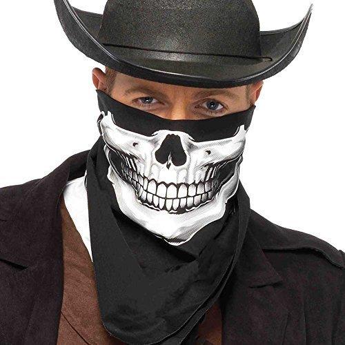 Unisex Schwarz Schädel Kopftuch Gesichtsmaske Skelett Kostüm Halloween weiß Totenschädel Biker Cowboy Schal (Einheitsgröße) (Biker-halloween-kostüme)