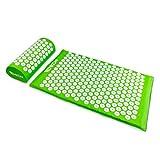 Set de acupresión con estuche portátil - Set verde de 2 piezas - Almohada de masaje y alfombrilla de masaje para el tratamiento del dolor - Grinscard
