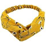 WSSROGY 4er Set Damen Elastische Haarbänder Blumen Kopfband Wrap Haarband Vintage Style Haarschmuck