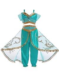 WTDlove Cosplay Halloween alashindine Jasmine Princesa Lentejuelas Blusa + pantalón Conjunto Falda Vestido de Rendimiento