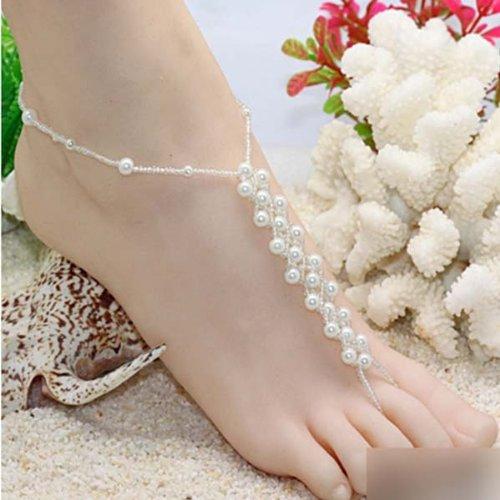HuaYang Chaîne Bijou de Pied Bracelet de Cheville Brillant Chic Paré Perles