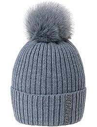 MFAZ Morefaz Ltd Winter Donne Beanie Cappello Cristallo Grand Pom Pom  Invernale Di Lana Berretto Delle a8462a380385