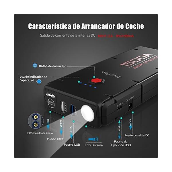 TrekPow 1500A Arrancador de Coche, Jump Starter 12000mAh, Arrancador de Baterías de Coche con USB de 3.0 Puertos de Carga Rápida – para 6.5L de Diesel o 8.0L de Gasolina, 3 Modos de Linterna LED
