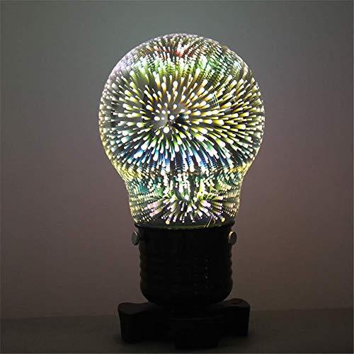Schreibtischlampe 7 Farben 3D Nachtlicht Schlafzimmer Romantische Mode Nachttisch Atmosphäre Lampe Glasschirm Schwarz Schmiedeeisen Tischlampe Mit Knopf Schalter E27 Sockel