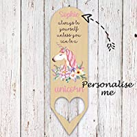 Personalised Name Unicorn Wooden Bookmark