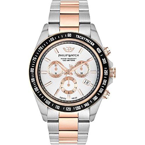 PHILIP WATCH Reloj Cronógrafo para Hombre de Cuarzo con Correa en Acero Inoxidable R8273607006