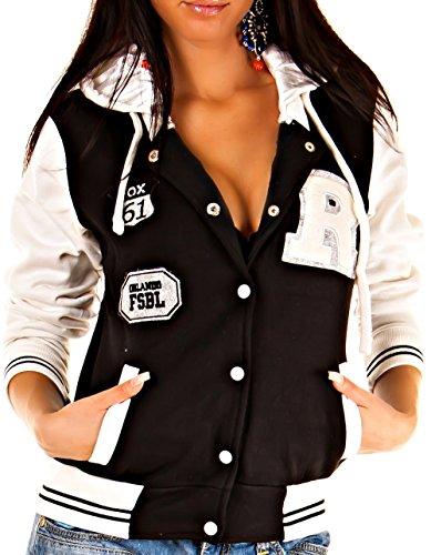 CBKTTRADE Damen College Jacke Old School Jacket Sweat Jacke Fox Hooded Boxusa Fox Schwarz Weiss