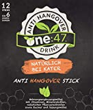 one:47 ® Anti-Hangover-Drink | 12 Sticks | NATÜRLICH BEI KATER | Geschützte Formel | hochkonzentrierte Elektrolyte und Pflanzenextrakte wie Ginkgo und Ingwer