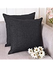 Kridhay Natura Life Jute/Polyester Reversible Decorative Throw Pillow/Cushion Covers with Invisible Zipper - 16 x 16 inch