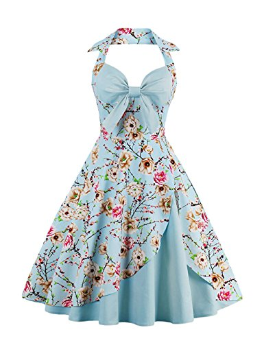 VKStar® Retro 50er Neckholder V-Ausschnitt Schlankes elegantes Abendkleid Partykleid Hellblau