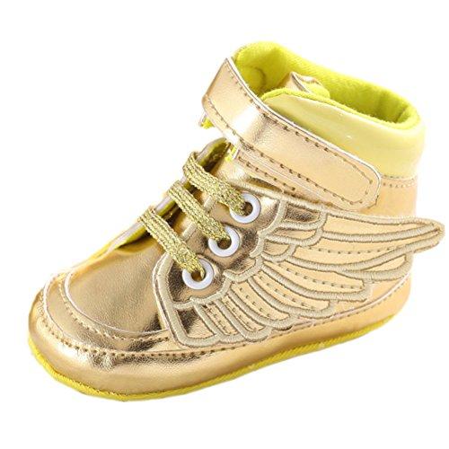 etrack-online Bambine Ali di angelo in pelle PU morbida suola prewalker scarpe sneaker, oro (Gold), 12-18 Mesi