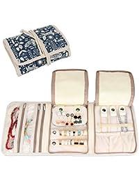 Souarts Pochettes Pliable pour Bijoux Sac de Rangement Portable Bagues de Voyage Organiseur avec Plusieurs Compartiments et Poches Rouleau de Bijoux Pliable