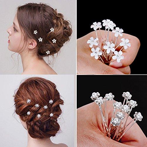 Goldge 20pc nozze forcine perline fiori accessori per capelli da sposa  strass per capelli da sposa comunione conferma battesimo partito