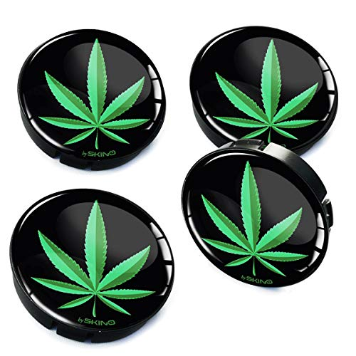 Biomar Labs® 4 x 60mm Coprimozzi Copricerchi Tappi Ruote Auto Logo Stemma Marijuana Foglie Canapa Cannabis Weed Rasta C 5