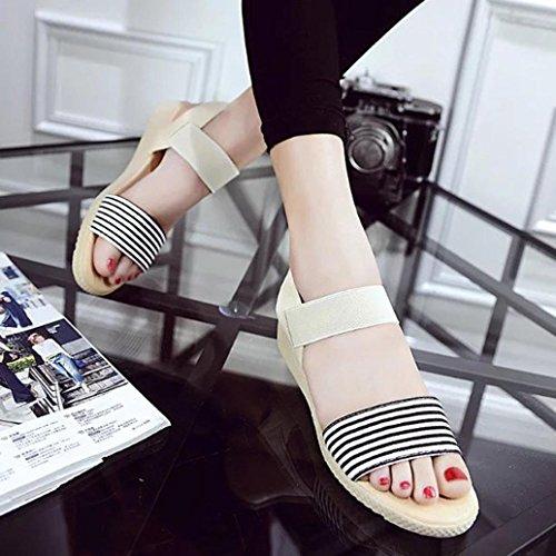 Transer® Damen Sandalen Niedrige Ferse Komfortabel PU Leater+Gummi Beige Schwarz Sandalen (Bitte achten Sie auf die Größentabelle. Bitte eine Nummer größer bestellen) Beige