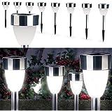 IDMarket - Lampe borne solaire led X8 forme tulipe blanche
