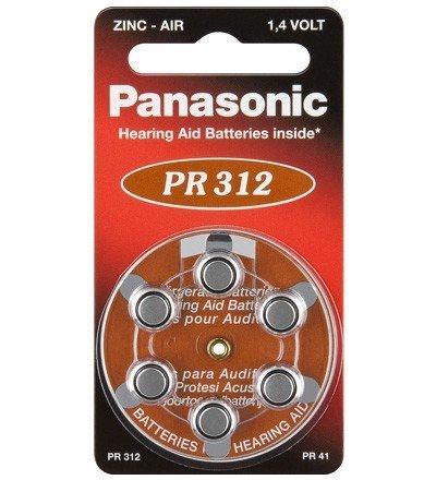 Panasonic Zinc air Appareil Auditif - Cellules Pile bouton (1,4V, 180mAh) 6 Pièces