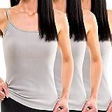 HERMKO 1560 3er Pack Damen Träger Top aus 100% Baumwolle, Farbe:grau, Größe:32/34 (XS)
