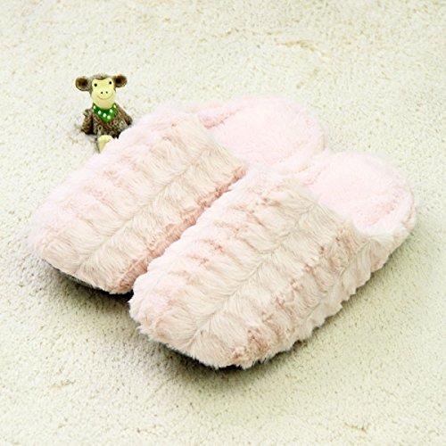 Maison De Style Japonais Automne Et Hiver Hommes Et Femmes Couple Stripe Stripe. Pantoufles En Coton Chaud Imperméable Antidérapant De Plancher En Bois Antidérapant,Brown Pink