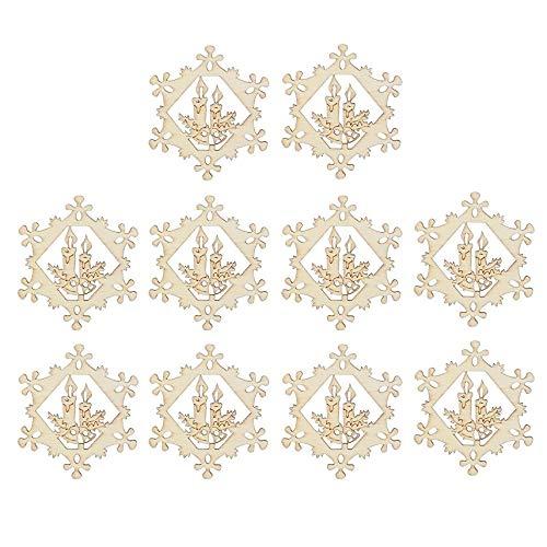 Maycong Halloween-hängende Dekoration 10PCS hölzerne Schneeflocke-Verzierungen, die Dekorationen für Weihnachten hängen (Farbe : As Shown, Größe : 8 * 8 * 0.3cm)