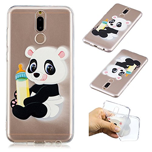 "CaseLover Huawei Mate 10 Lite Hülle, Transparent Schutzhülle Mode Handy Case Huawei Mate 10 Lite 5,9"" Silikon Case, Weiche TPU Handyhülle Shockproof Handy Cover, Panda und Babyflasche"