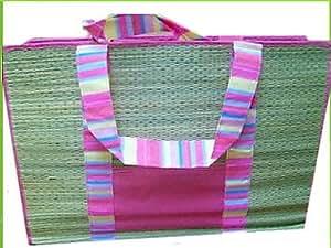 sac de plage style natte en bambou avec poche intérieure