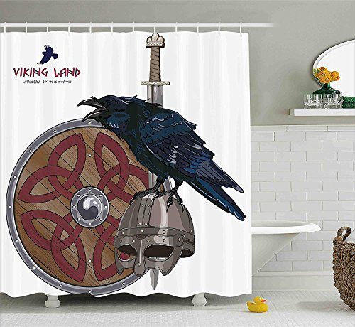 XIAOYI Viking Shower Curtain Set by, Raven on Steel Helmet Nordic Sword Shield Scandinavian Army Medieval Armour, Fabric Bathroom Decor with Hooks, 60W X 72L Inche Long, Dark Blue Grey and Caramel Glitter Stars Black Shield
