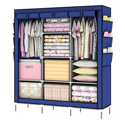 Intirilife Faltschrank 130x175x45 cm in KÖNIGS BLAU - mit Reißverschluss Stoffschrank Kleiderschrank mit Kleiderstange, Fächern und Seitentasche - Camping Steckschrank Textil Garderobe -