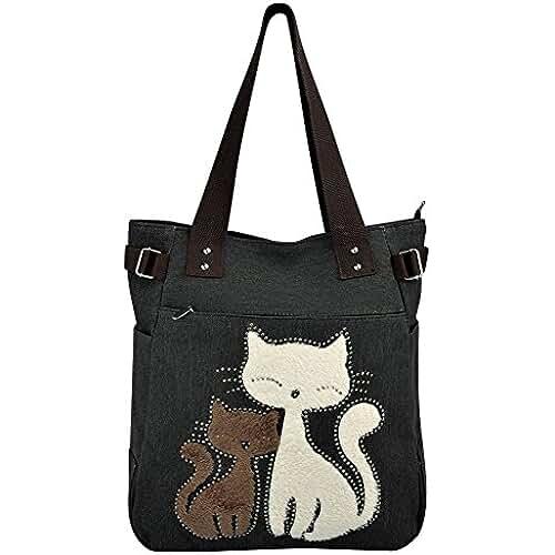 bolsos para el dia de la madre Vbiger Bolsos Totes para Mujer con Lona Linda del Gato