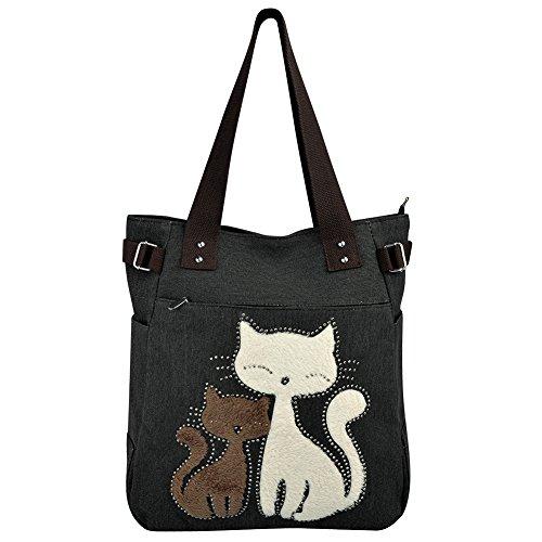 Vbiger Damen Schultertasche Damen Tasche Damen Henkeltasche Canvas Damen Handtasche Niedliche Katzen Tasche (Schwarz)