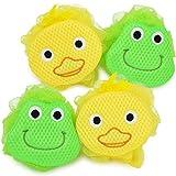 com-four® 4X Duschknäul mit Tiermotiv für Kinder, Badeknäul mit Motiv von Frosch und Ente, Badeschwamm (04 Stück - Duschknäul Ente + Frosch)