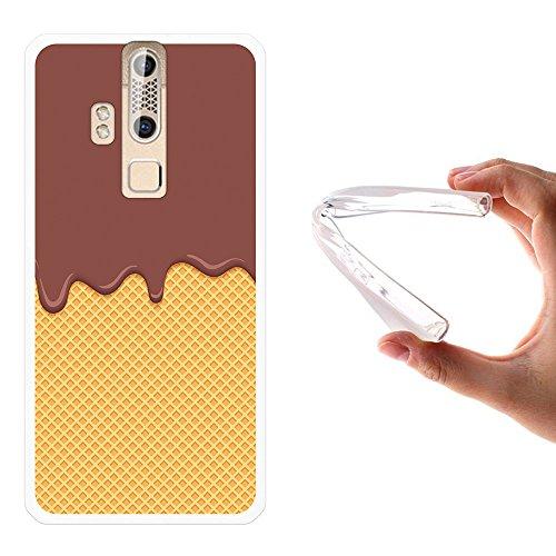 WoowCase ZTE Axon Elite Hülle, Handyhülle Silikon für [ ZTE Axon Elite ] Bitterschokolade, Sahne und Waffel Handytasche Handy Cover Case Schutzhülle Flexible TPU - Transparent