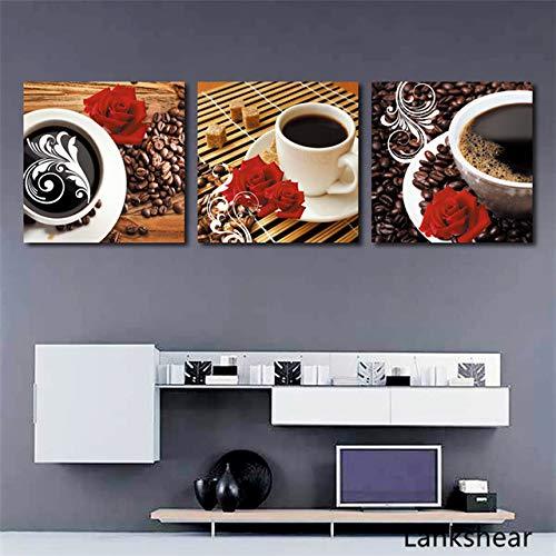 tzxdbh Drucken Kaffeetasse Vintage Poster Cafe Bars Küche Dekor Poster Wandbilder für Küche Coffee Shop Wanddekor Malerei Canva-in von 40x40cm Kein Rahmen 3 Stück